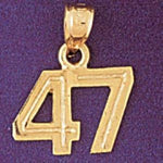 Charm Pendant 14k Gold Number 47