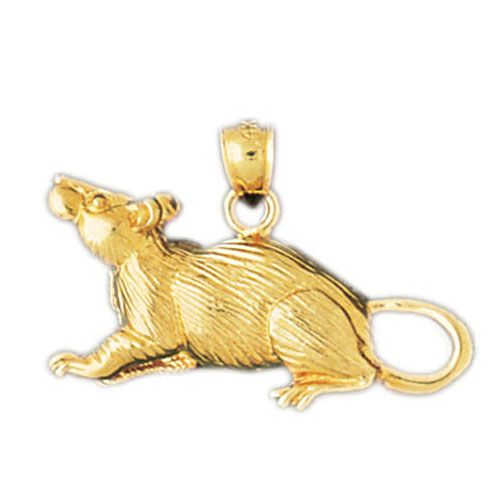 Rat Mouse Charm Pendant 14k Gold