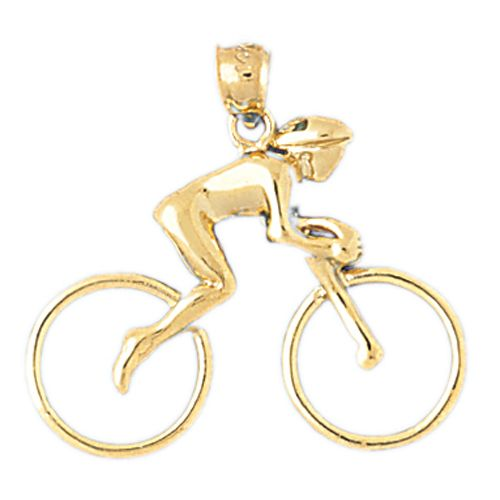 Biker Bicycle Charm Pendant 14k Gold