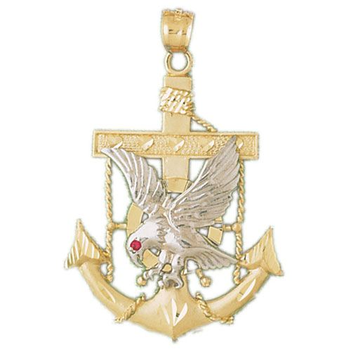 Eagle on Ancor Charm Pendant 14k Two Tone Yellow and White Gold