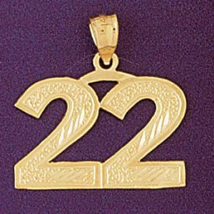 Charm Pendant 14k Gold Number 22