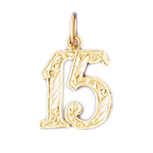 Number 15 Charm Pendant 14k Gold
