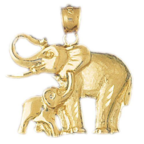 Elephants Charm Pendant 14k Gold