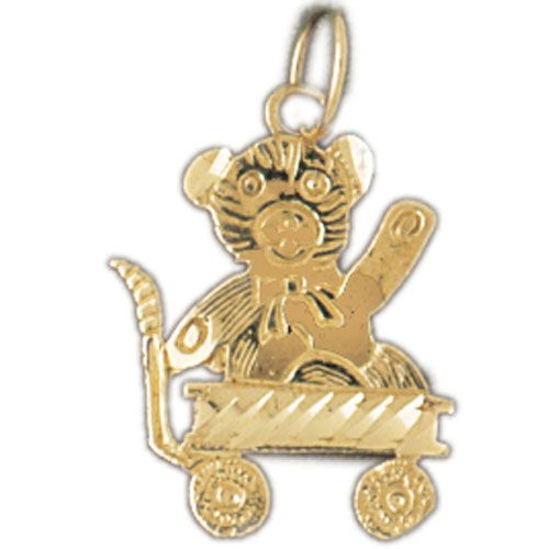 Teddy Bear On Scooter Charm Pendant 14k Gold