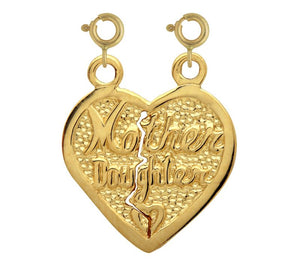 Mother Daughter Heart Charm Pendant 14k Gold
