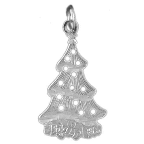 Christmas Tree Charm Pendant 14k White Gold