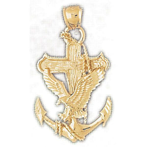 Eagle On Anchor Charm Pendant 14k Gold