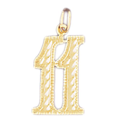 Charm Pendant 14k Gold Number 11