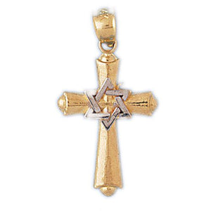 Star of David on Cross Charm Pendant 14k Gold