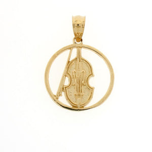 Violin Musical Charm Pendant 14k Gold