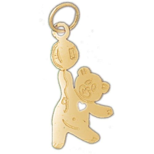 Teddy Bear With Heart Charm Pendant 14k Gold