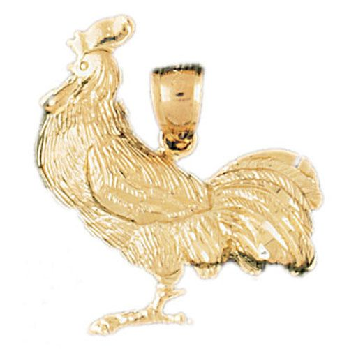 Rooster Charm Pendant 14k Gold