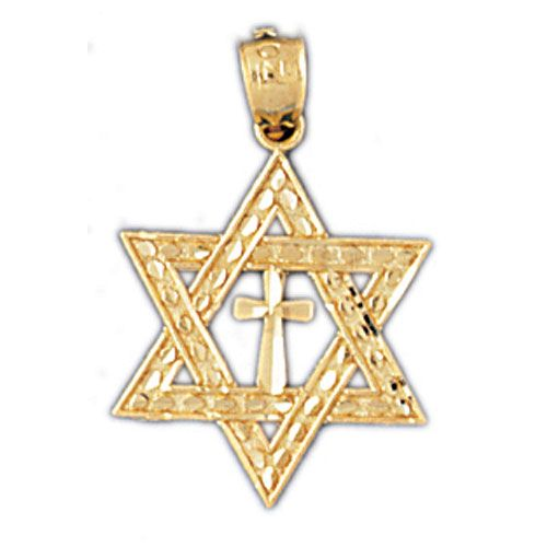Star of David With Cross Charm Pendant 14k Gold