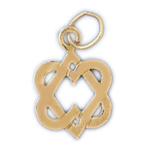 Star of David Heart Charm Pendant 14k Gold