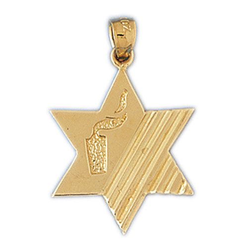 Star of David with Candle Charm Pendant 14k Gold