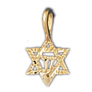 Star of David with Chai Charm Pendant 14k Gold
