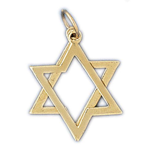 Star of David 2 Pieces Moveable Charm Pendant 14k Gold