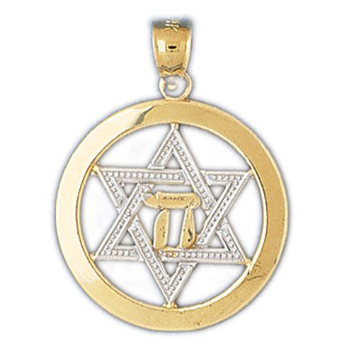 Star of David Two Tone with Chai Charm Pendant 14k Gold