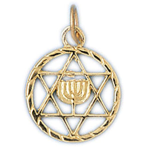 Star of David with Menorah Charm Pendant 14k Gold