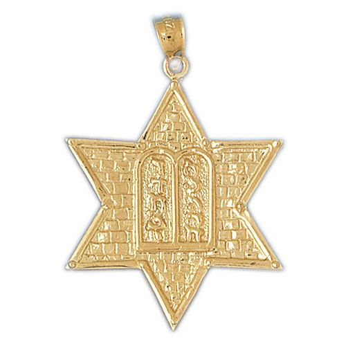 Star of David with Torah Charm Pendant 14k Gold