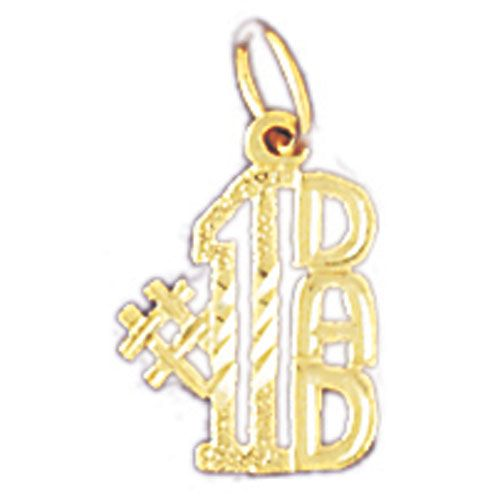 Number One Dad Charm Pendant 14k Gold