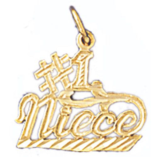 Number One Niece Charm Pendant 14k Gold