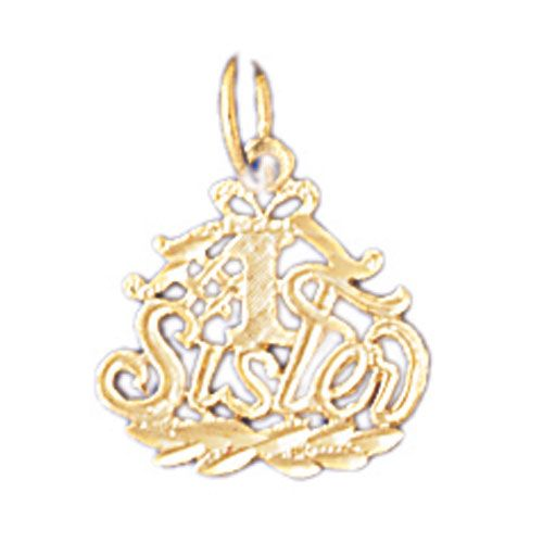 Number One Sister Charm Pendant 14k Gold
