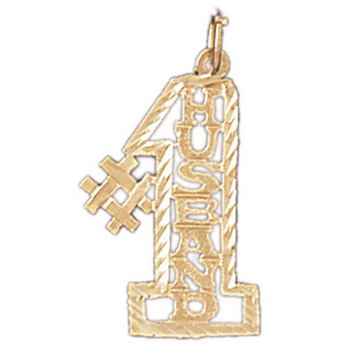 Number One Husband Charm Pendant 14k Gold