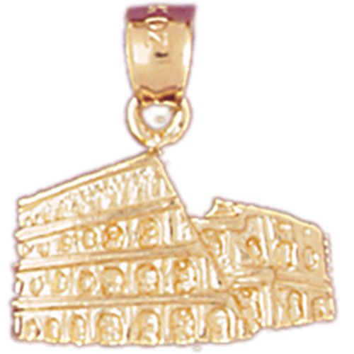 Colosseum in Rome Charm Pendant 14k Gold