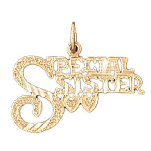 Special Sister Charm Pendant 14k Gold