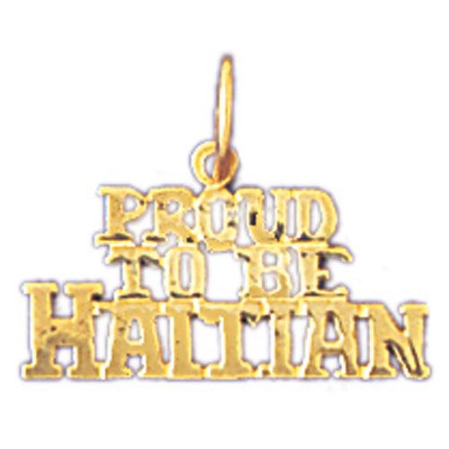Proud To Be Haitian Charm Pendant 14k Gold