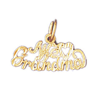 We Love Grandma Charm Pendant 14k Gold
