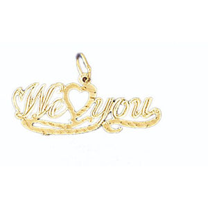 We Love You Charm Pendant 14k Gold