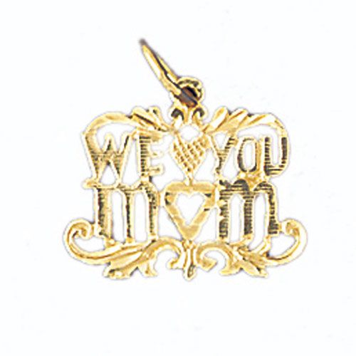 We Love You Mom Charm Pendant 14k Gold