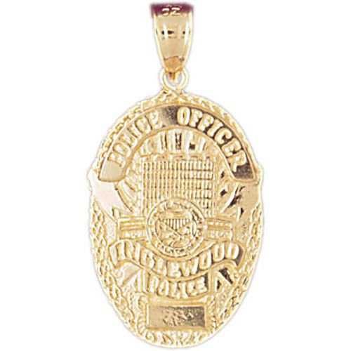 Hollywood Police Badge Charm Pendant 14k Gold