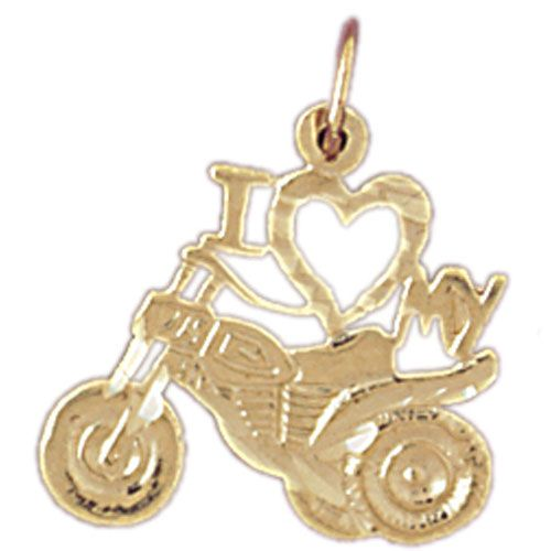 I Love My Motorcycle Charm Pendant 14k Gold