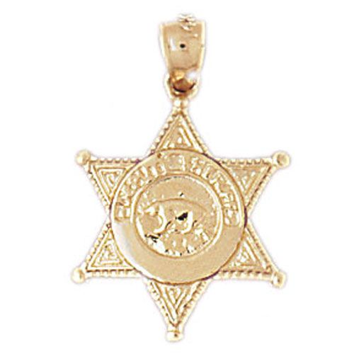 Los Angeles Deputy Police Badge Charm Pendant 14k Gold