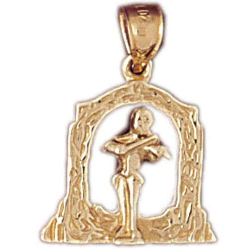 Violin Player Charm Pendant 14k Gold