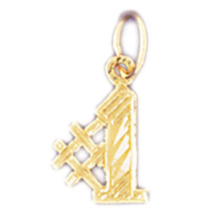 Number 1 Charm Pendant 14k Gold