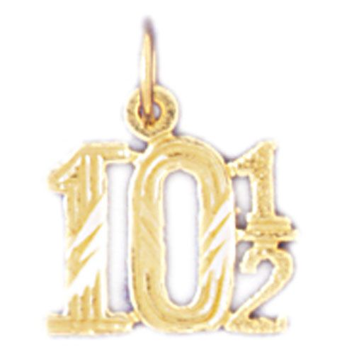 Number 10 1-2 Charm Pendant 14k Gold