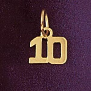Number 10 Charm Pendant 14k Gold