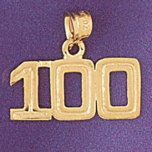 Number 100 Charm Pendant 14k Gold