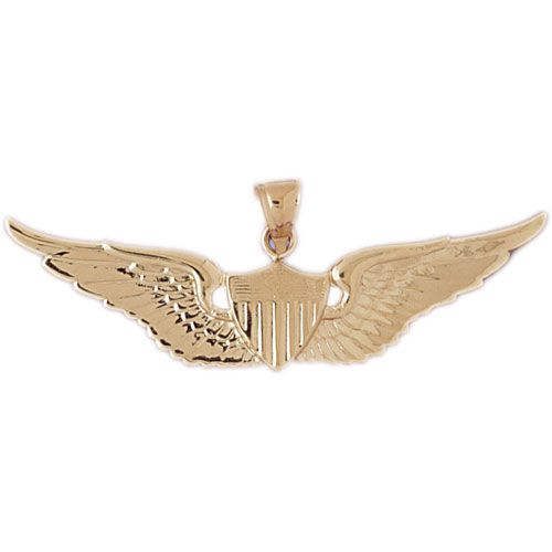 Military Air Force Sign Charm Pendant 14k Gold