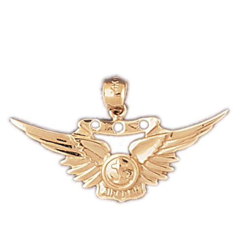 Us Marine Sign Charm Pendant 14k Gold
