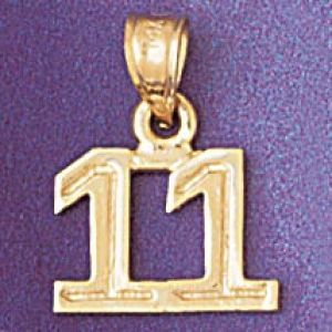 Number 11 Charm Pendant 14k Gold