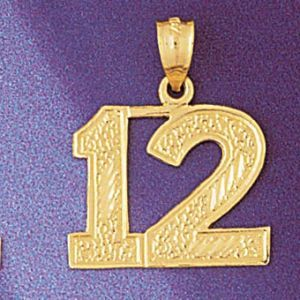 Number 12 Charm Pendant 14k Gold