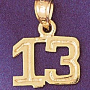 Number 13 Charm Pendant 14k Gold