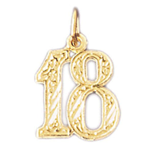 Charm Pendant 14k Gold Number 18