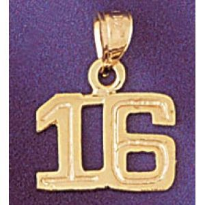 Number 16 Charm Pendant 14k Gold
