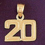 Number 20 Charm Pendant 14k Gold